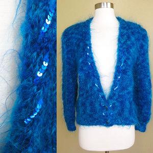 Vintage 80s Blue ANGORA Soft Fuzzy Sweater M L
